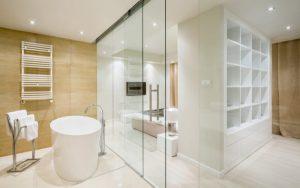 baños con pared de vidrio