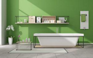 baños pintados de verde