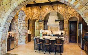 cocinas rusticas con paredes de piedra