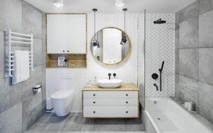 decoracion de baños en tonos grises