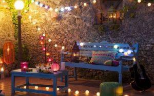 decoracion de patio con luces