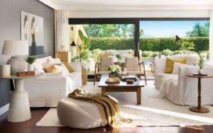 decoracion salon muebles blancos