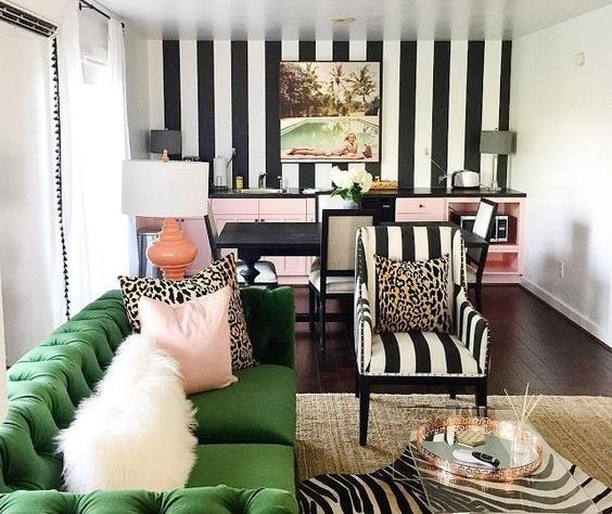 Rayas y Verde para un salón moderno
