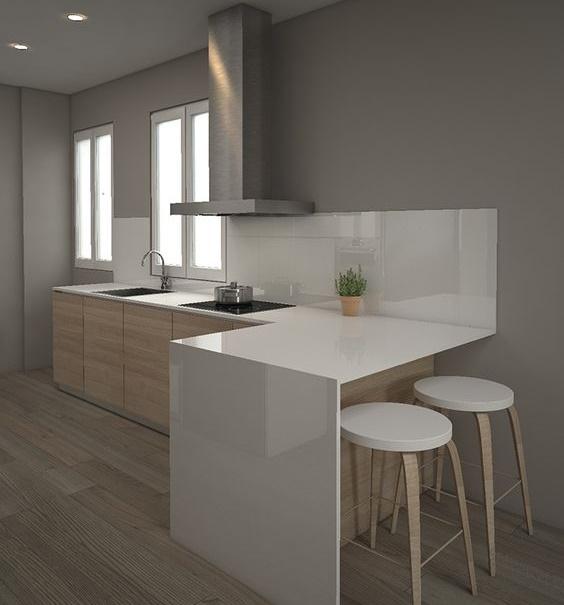 Cocina Minimalista en blanco con paredes grises