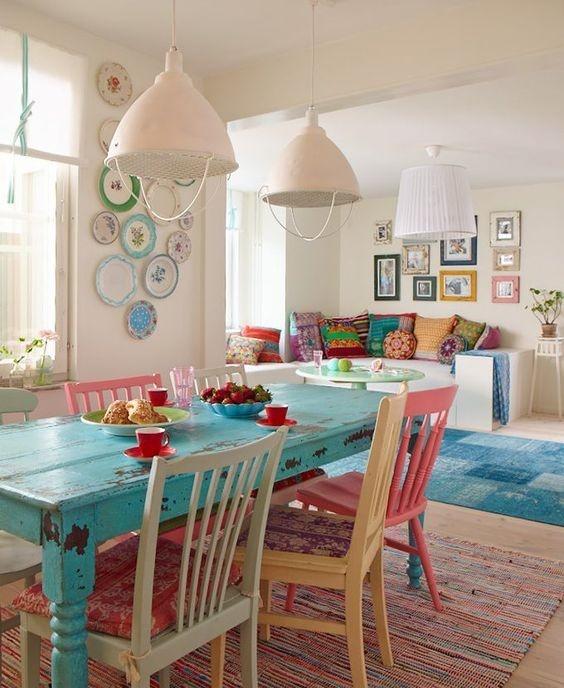 Salón comedor Vintage Colorido de 25 metros cuadrados