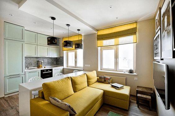 Cocina - Salón abiertos en color Amarillo