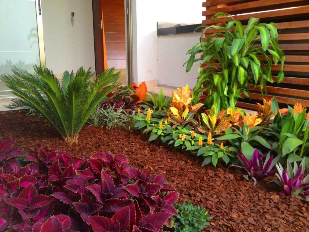 decoración de jardines con mulch con colores