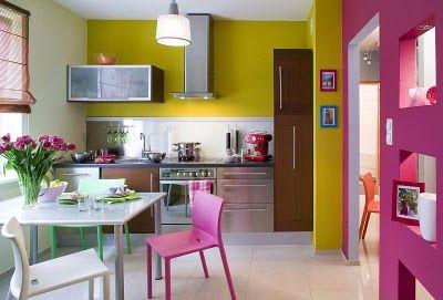 Cocina comedor de concepto abierto coloridos