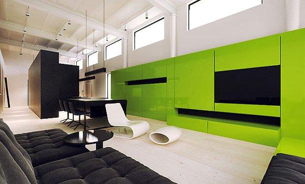 Añade algo de color a un salón moderno y pequeño