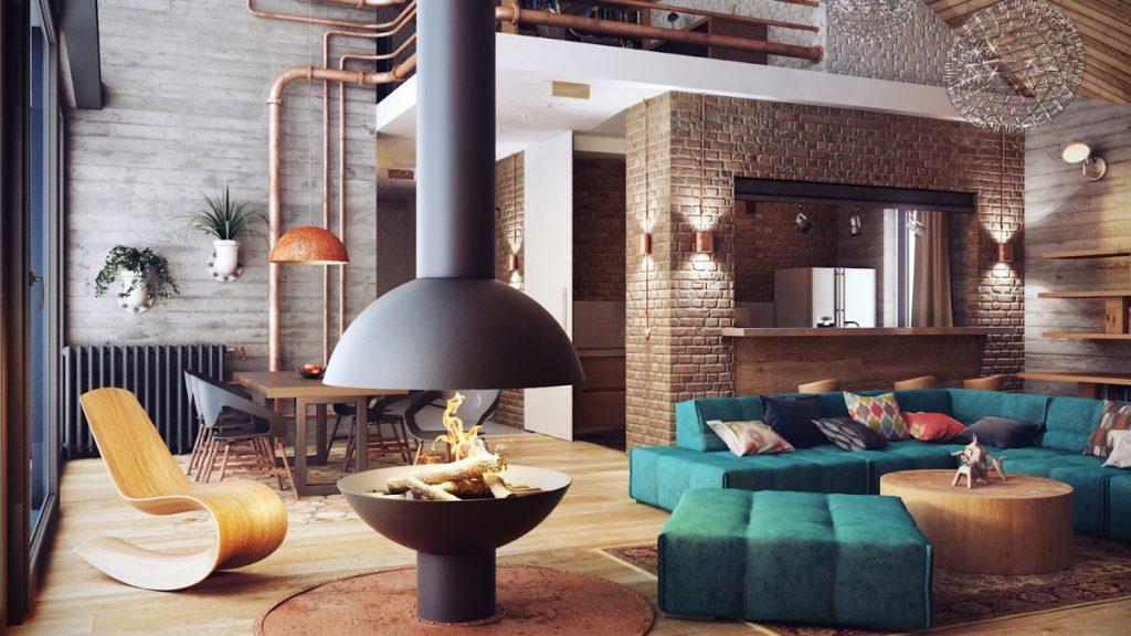 Añade elementos industriales a tu salón rústico