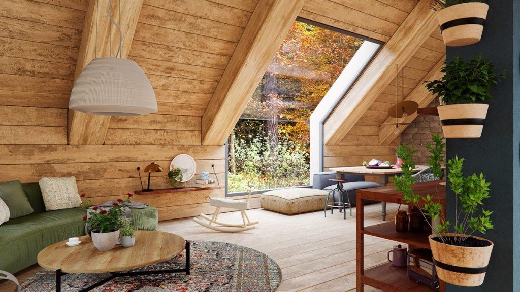Aprovecha un techo abuhardillado en tu salón rústico