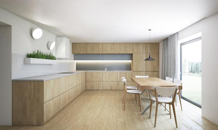 Cocina comedor minimalista revestida de madera