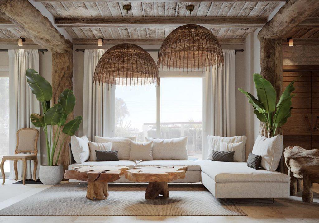 Combina elementos materiales con colores claros en salones rusticos