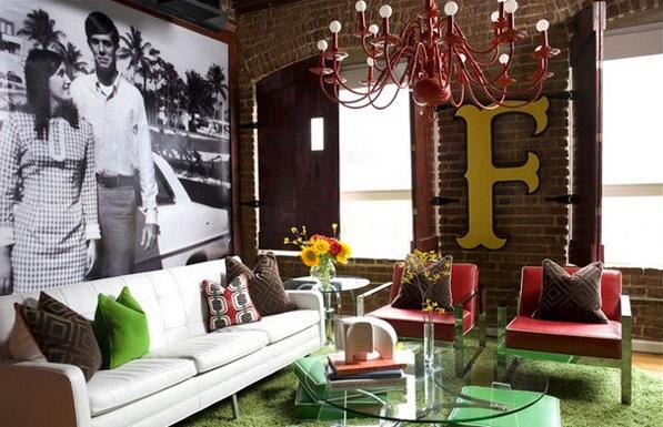 decoración vintage para el salón tipo loft