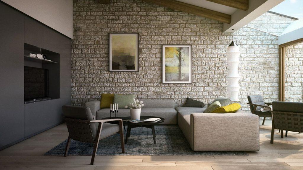 El color gris, puede darle modernidad a un salón rústico