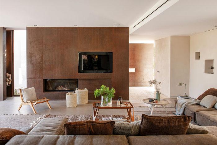 Moderna sala rústica de ensueño con chimenea