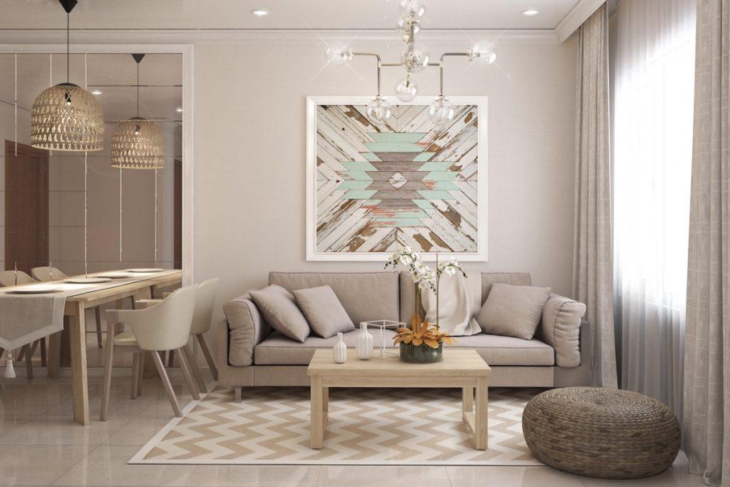 Sala de estar rústica, blanca y brillante