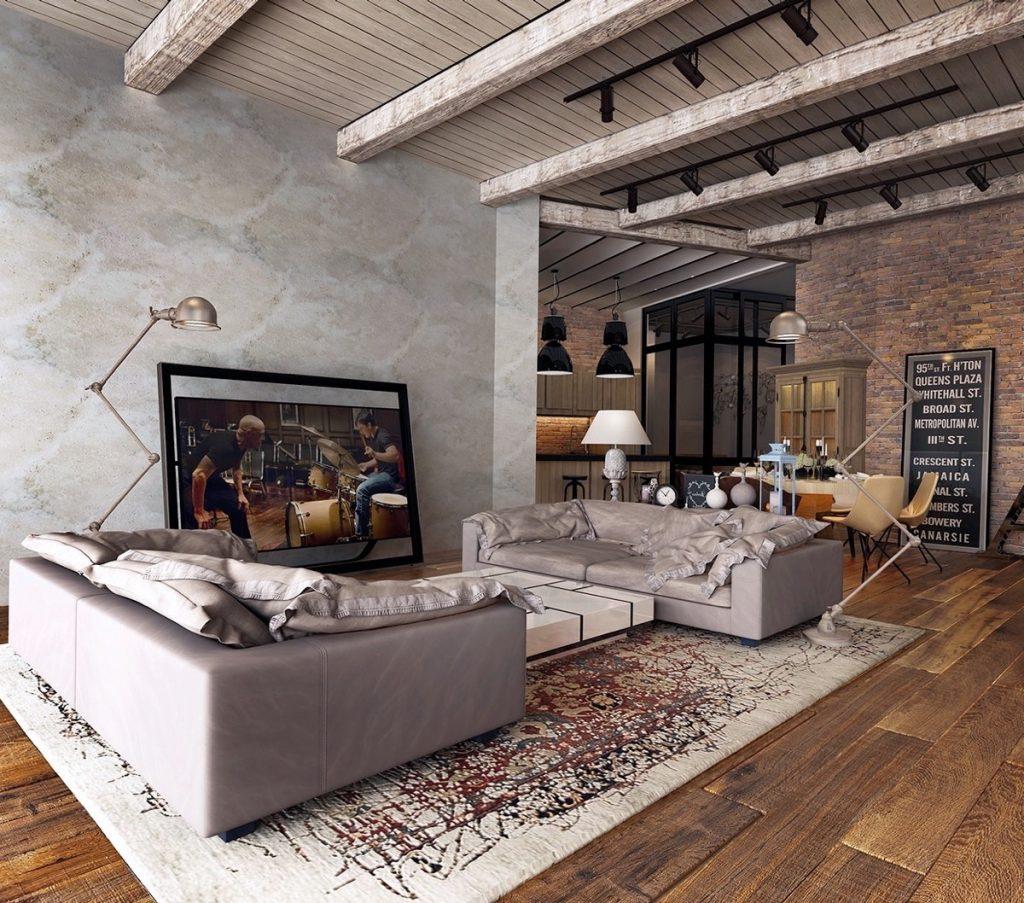 Sala de estar rústica y moderna
