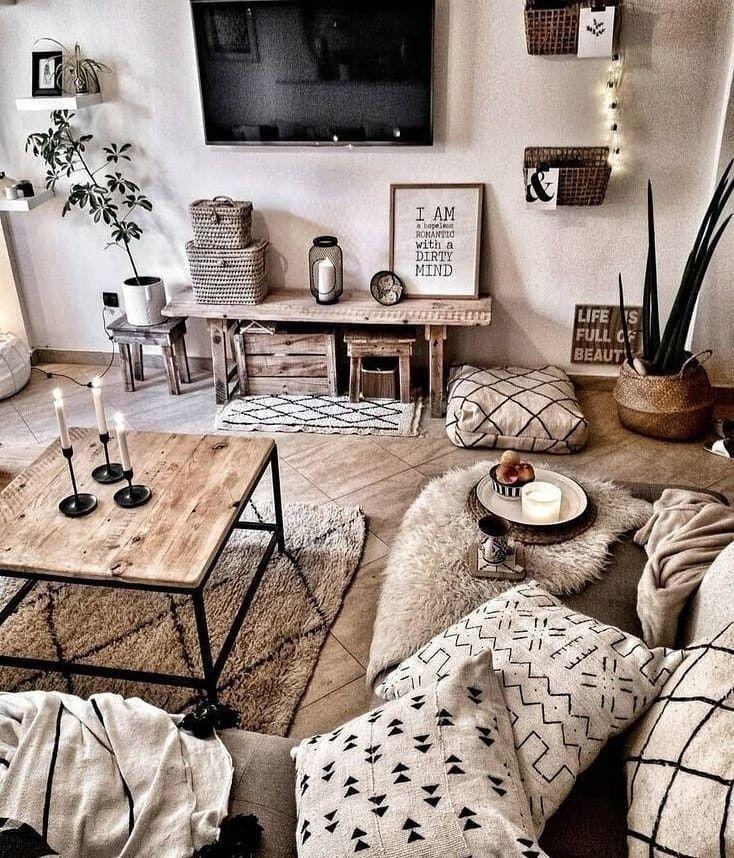 Sala pequeña al más puro estilo granja rústica