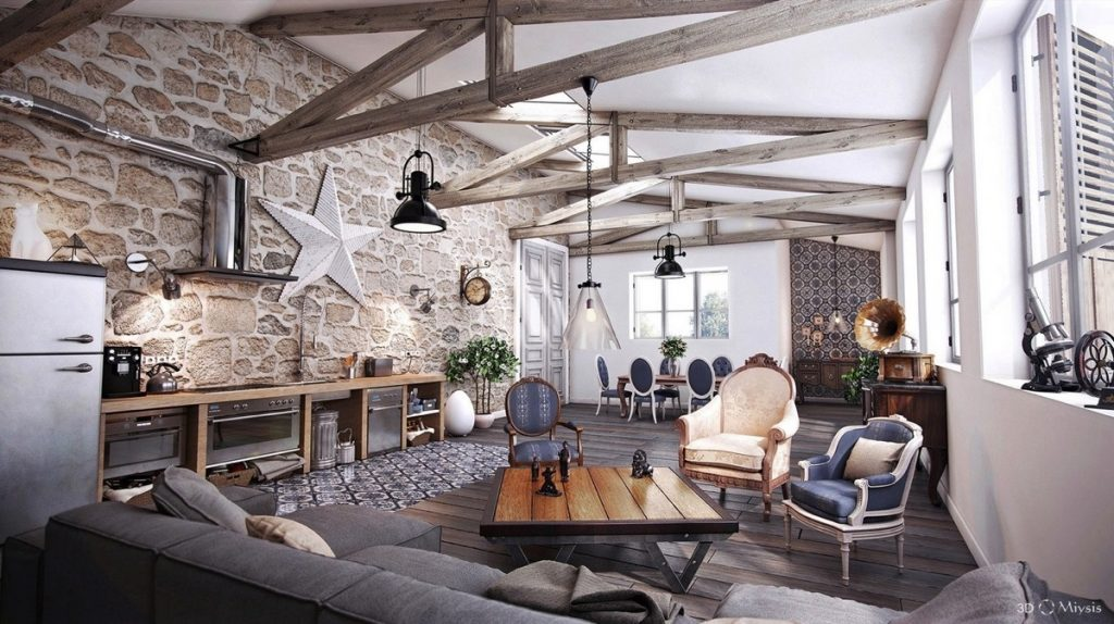 Salón Rústico con papel tapiz de piedra