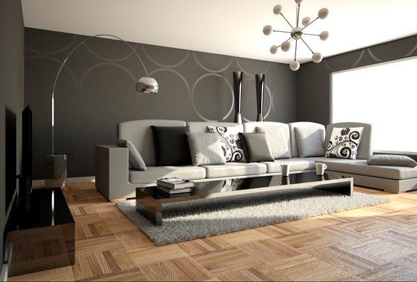 Salón con colores modernos