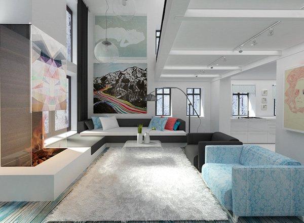 Salón en un estudio moderno