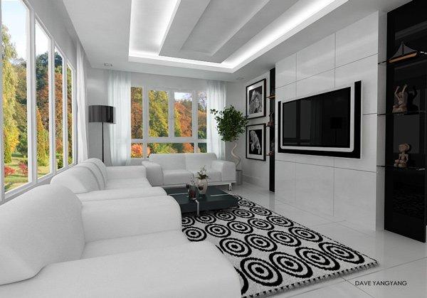 Salón moderno en blanco y negro