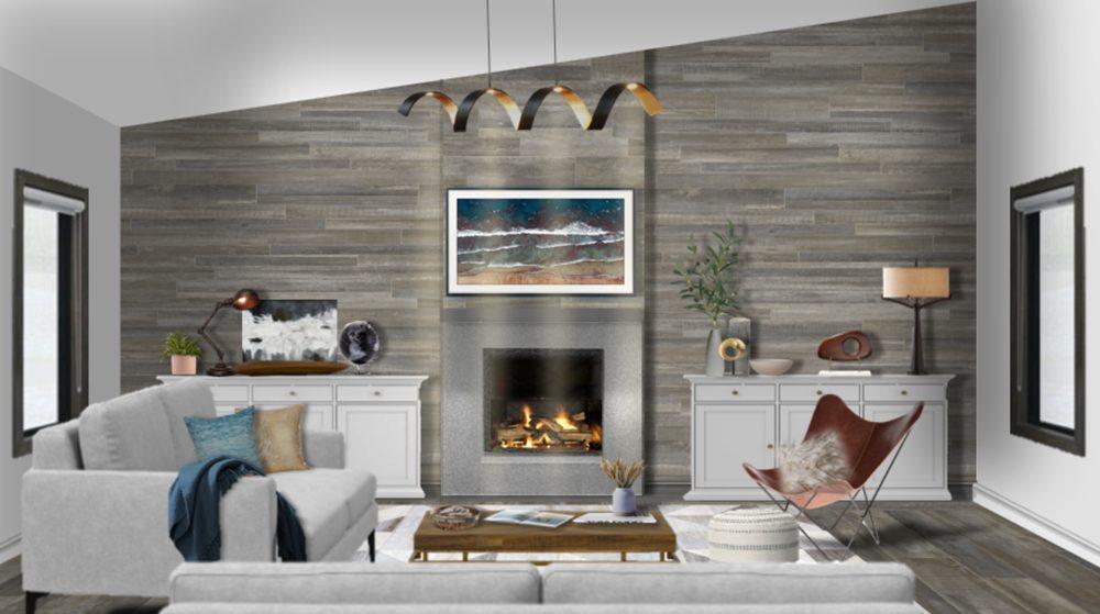 Salón moderno con chimenea con pared de madera gris