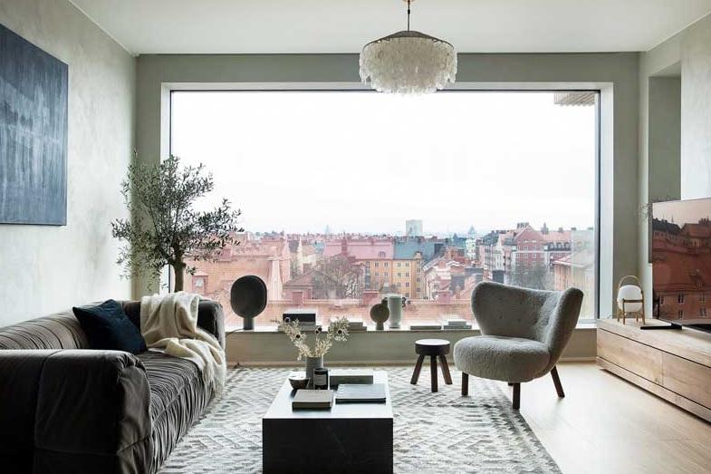 Salón nórdico con bonitas vistas