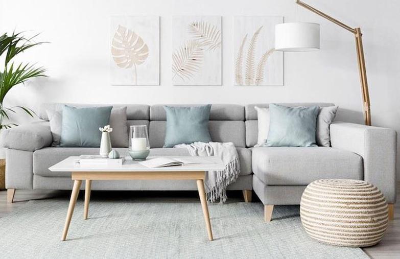 Salón nórdico con algodón y lino