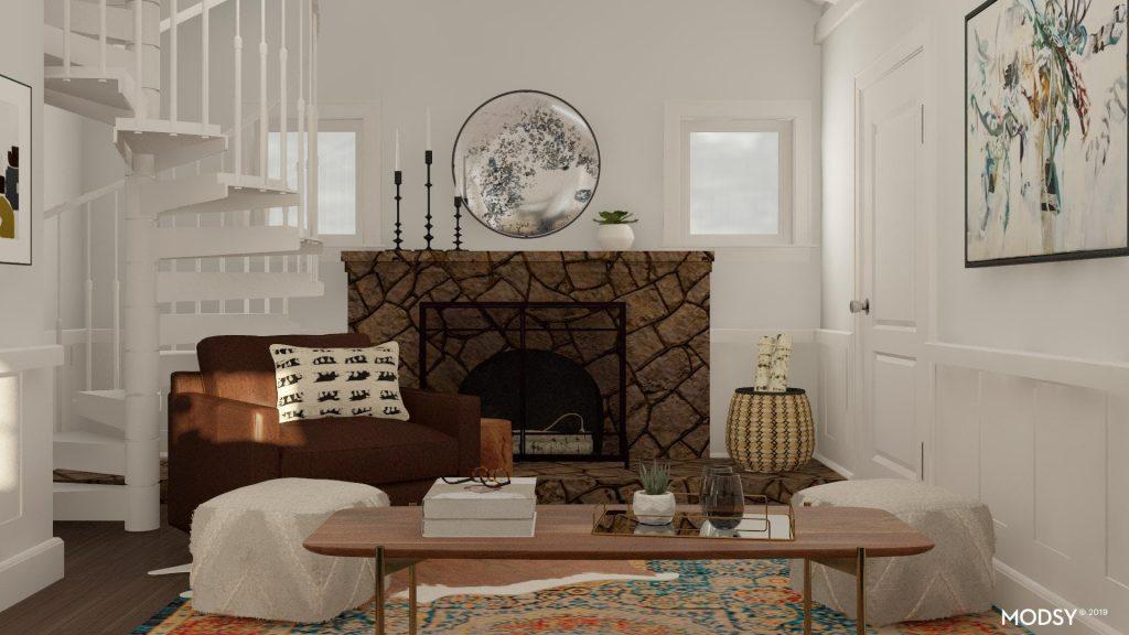 Salón rústico con chimenea y un aire minimalista