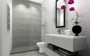 baños de color gris y blanco