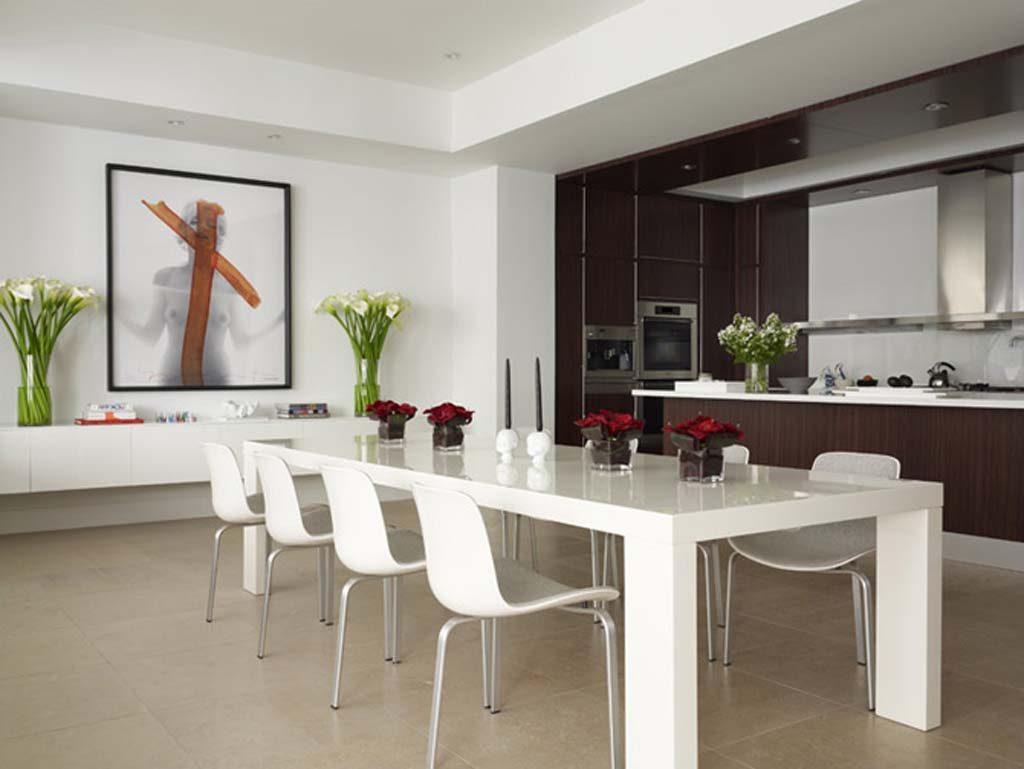 comedor cocina minimalista en blanco y madera