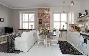 decoración de piso de 40 metros cuadrados comodo y elegante