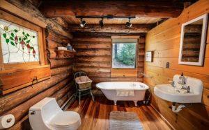 decoración rústica de baños