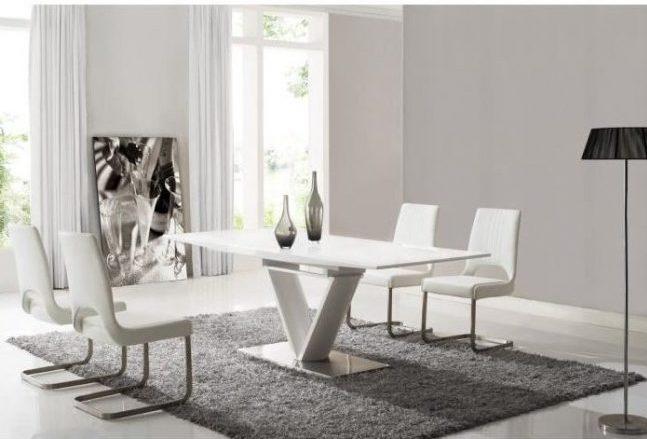 salón Comedor en Blanco y Gris elegante