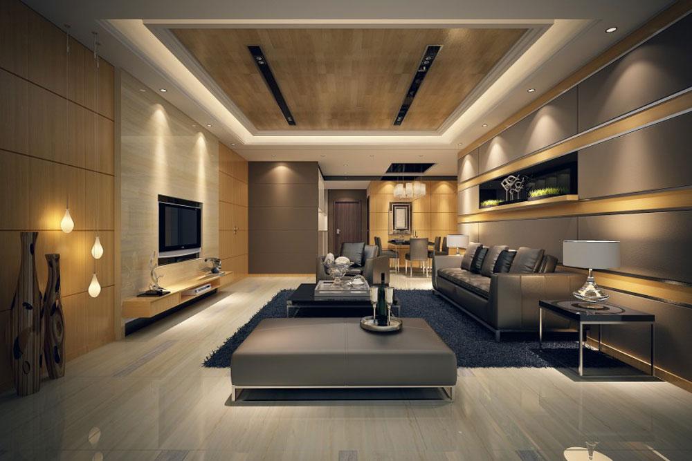salon moderno bonito y lujoso con luces