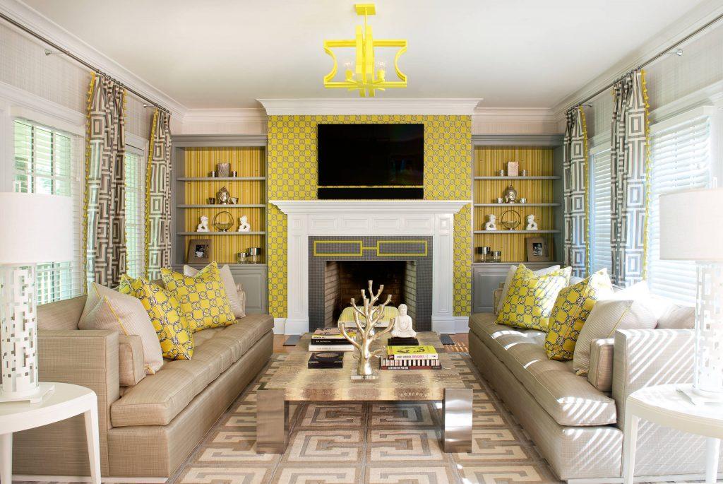 salon pintado de 2 colores blanco y amarillo