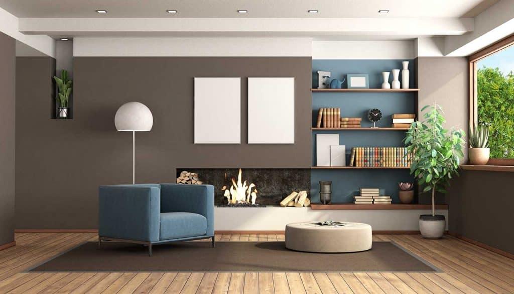 salon pintado de 2 colores marrón y azul