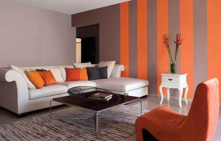 salon pintado de 2 colores naranja y marrón