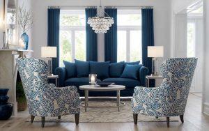sofa azul decoracion para el salón
