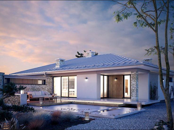 Casa de piedras moderna estilo minimalista