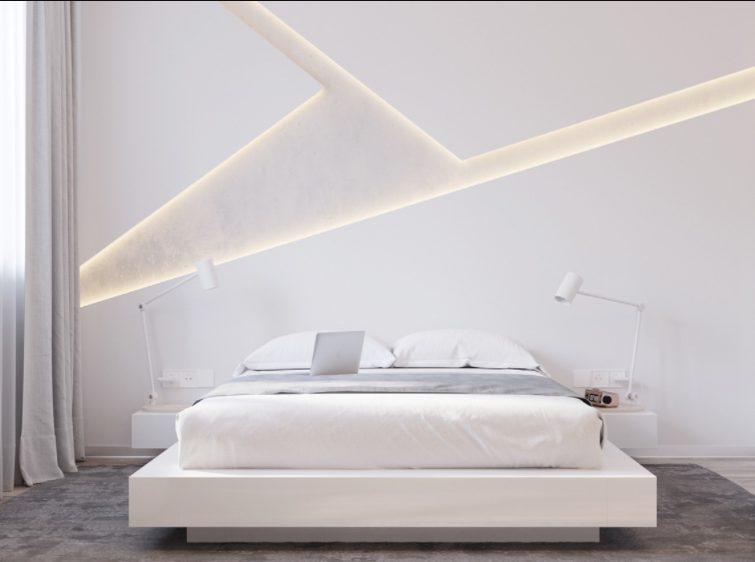 Dormitorios blancos modernos con iluminación empotrada