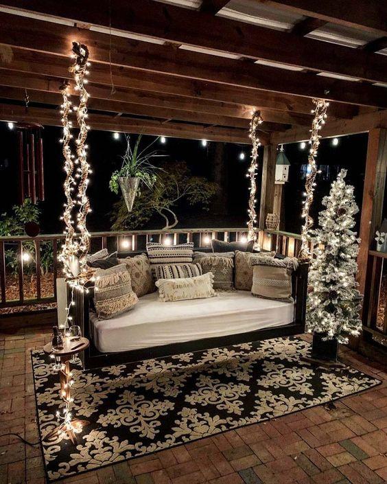decorar el patio de navidad elegante