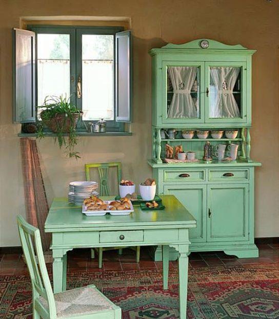 Alacenas de cocina vintage en verde