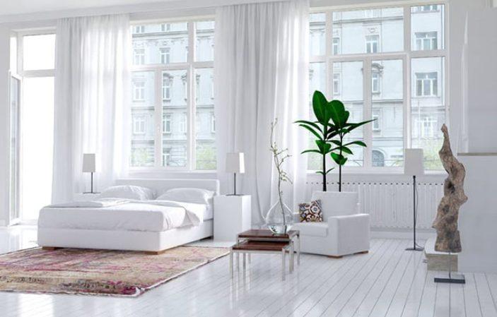 Dormitorio blanco moderno y artístico
