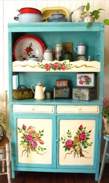 Alacenas de cocina vintage en azul y blanco