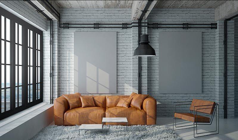 Salón industrial vintage con sofá de los 70´s