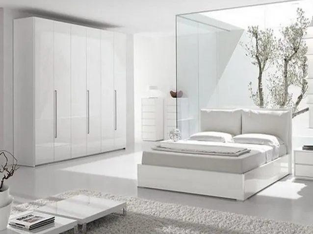 Dormitorio blanco moderno con enfoque japonés