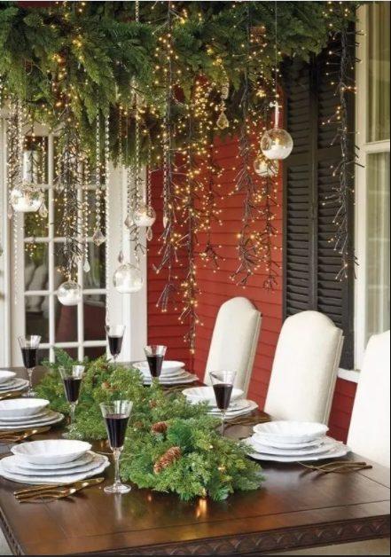 decorar el patio en navidad para la cena